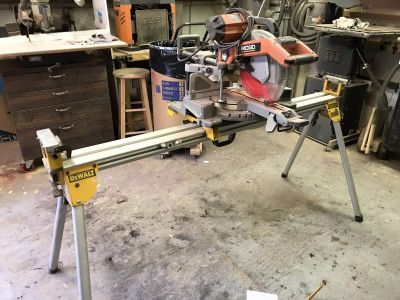 Rigid 10 sliding compound saw with dewalt stand will saw by it self for 150 or best offer
