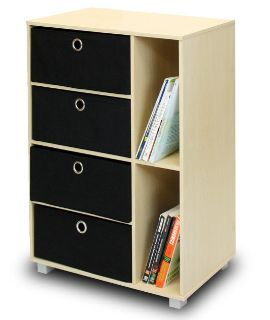 NEW-Furinno Steam Beech and Black Storage Chest
