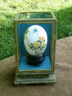 VINTAGE CHINESE HAND PAINTED REAL EGG FIGURINE GLASS IN CASE