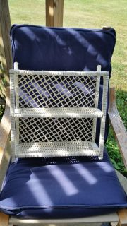 Sweet vintage white wicker shelf for wall or sits flat. Good condition.