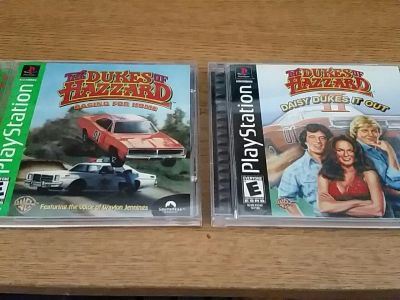 PlayStation 1 - The Dukes of Hazzard (1 & 2) - manual present, no scratches, works