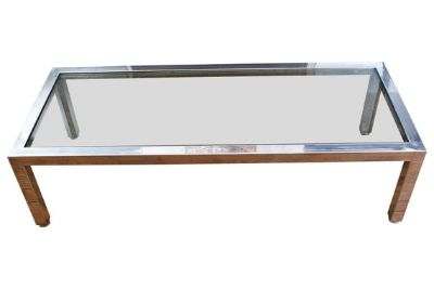 Chrome Coffee Table w/ Glass Top, by Pace
