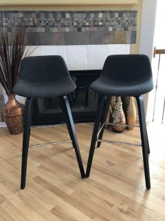 Mid-Century Modern-Look Counter-Height Barstools - Sold as a Pair