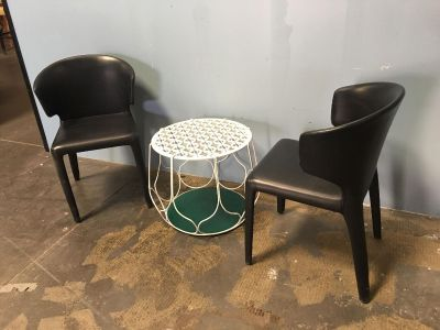 Black Leather Chairs + White Side Table. *great condition*