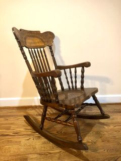Cane Bottom Vintage Solid Oak Rocking Chair with Stunning Press Back Design, Excellent Condition