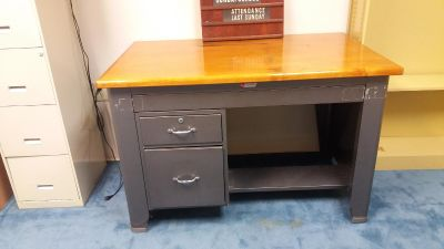 Metal & Wood Desk. Very sturdy; good used condition.