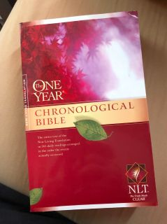The One Year Chronological Bible, NLT, EUC, $4. Pitch pick up only.
