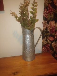 Beautiful tin pitcher extra 2$with new leaf branch