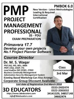 3D EDUCATORS OFFER PMP - PROJECT MANAGEMENT PROFESSIONAL TRAINING