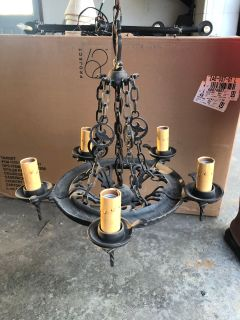 Rejuvenation Small Antique heavy wrought iron chandelier