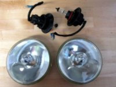 Pair Lucas LR576 Flamethrower Pencil Point Headlights Converted to Halogen