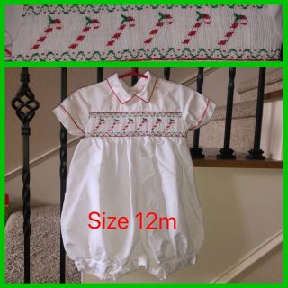 Baby Boy s Smocked / Smocking by house of Hatten Inc Candy Canes Size 12m / 12 months