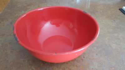 Large red enamel mixing bowl