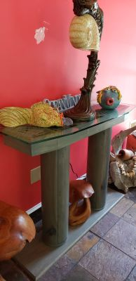 HANDMADE ENTRY TABLE WITH GLASS TOP AND OLD COLUMNS 48 L 16D 37 T