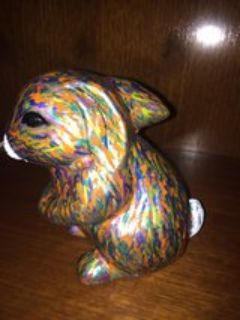 hand painted clay bunny, one of a kind, signed (6 )