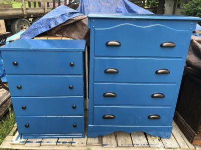 Two blue dressers