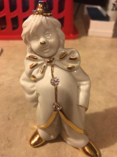 Limoges 4 H Clown w/Swarovski crystals Made in Italy