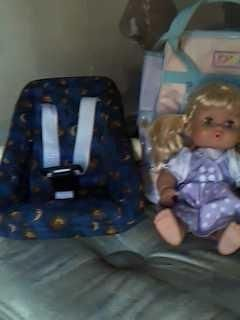 New baby doll with carrier and diaper bag