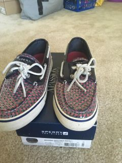 Sperry Bahama navy/red dots in box size 7