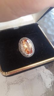 Gorgeous 4.2ct Imperial topaz, diamond baguette sterling silver oval ring. BNWT