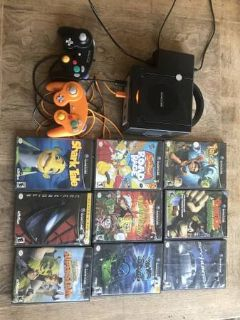 Black Nintendo Game Cube Bundle with 9 games, 2 Controllers & Cables.