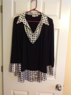 EUC silky black and white dress top from Cato's in size 18-20