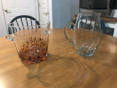 Beautiful Glass pitcher & NEW Crystal Ice Bucket. Made in Poland sticker still on ice bucket. Table & chairs 4 sale. Listed separately
