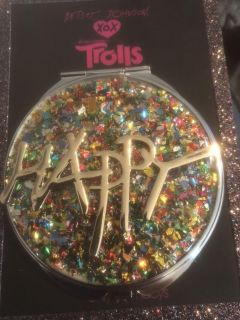 Betsey Johnson Trolls Compact Mirror. Happy with confetti jewels. New
