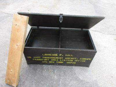 Vintage Wood Military Foot Locker With Shelf Insert VGC