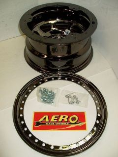 "Purchase NEW Aero 53-985040 Black Chrome Beadlock Wheel 4"" Offset 5 on 5"" 15x8 modified motorcycle in High Ridge, Missouri, United States, for US $166.95"
