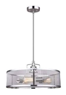 Brushed Nickel Chandelier with Metal Mesh Shade - New!