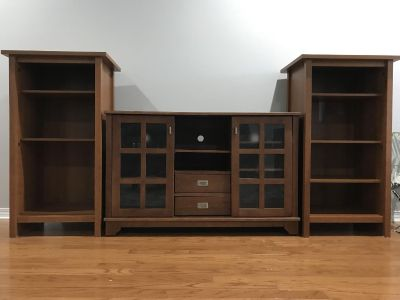 Tv console and two book shelves