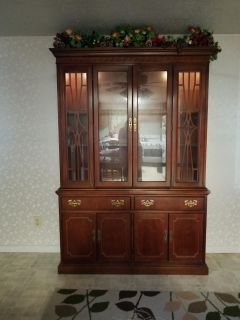 Solid Wood Dining Table with matching Hutch