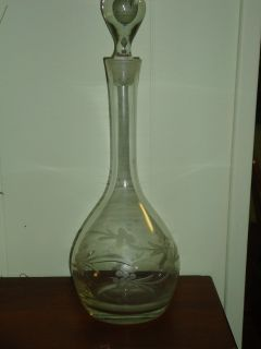 "15""H etched decanter"