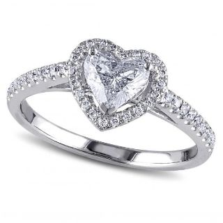 CLEARANCE ***BRAND NEW***Clear Heart Cut Halo Ring***SZ 7