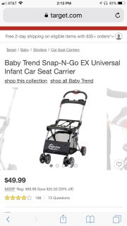 BABY TREND SNAP & GO X UNIVERSAL INFANT CAR SEAT CARRIER