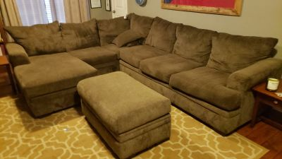 Large sectional with storage ottoman