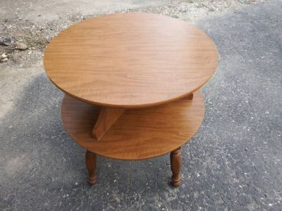 VINTAGE ROUND 2 TIER END TABLE