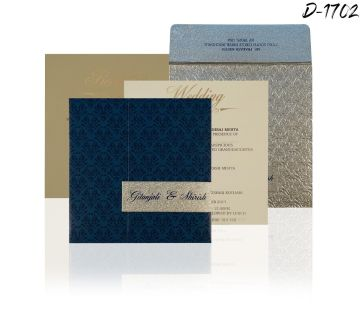 BLUE SHIMMERY PAISLEY THEMED - SCREEN PRINTED WEDDING INVITATIONS - D-1702