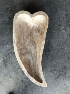 Large Beautiful Hand Carved Heart Wood Bowl