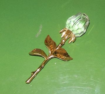 Swarovski Swan Signed Crystal Rose Long Stem Brooch
