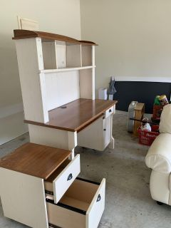 Desk with Hutch and matching File side table
