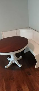 Round dining table and nook bench