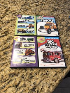 Lot of DVDs All About Cars, Motorcycle, Trucks, Monster Trucks, Farm, Horses, Trains, Airplanes, fire Engines, monster trucks, dump trucks