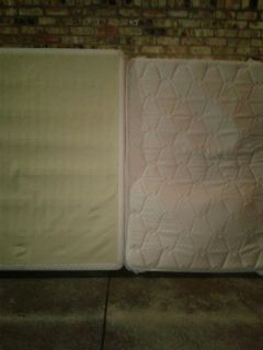 Full size Mattress and box springs with frame and bed cover