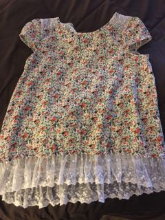 Adorable Flower and Lace trim top size 10/12