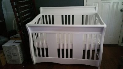 2 Cribs / Toddler Beds - White & Dark Wood