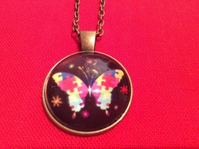Autism butterfly necklace