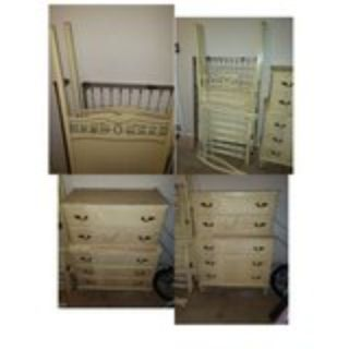 Vintage canopy crib and chest of drawers