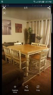 Solid wood counter height table set